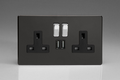 Varilight 2-Gang 13A Double Pole Socket with Metal Rockers + 2 5V DC 2100mA USB Ports Premium Black